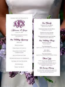 tea length wedding program template monogram by babieslove2party