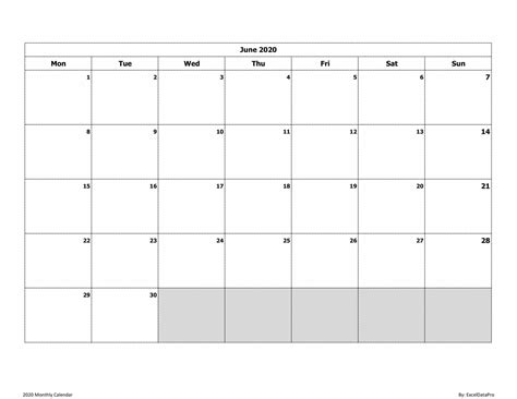 monthly calendar mon start ink saver excel template exceldatapro