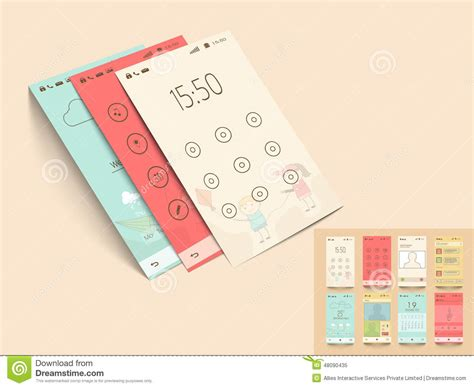 layout design mobile mobile application templates for user interface stock