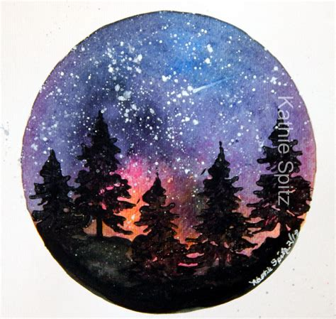 watercolor star tattoo six inch watercolor galaxy with acrylic sted trees and