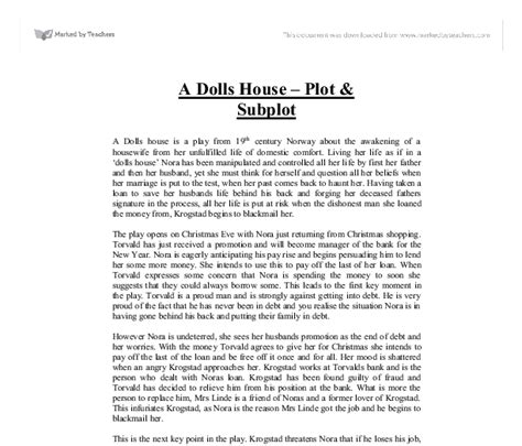 a doll house full text pdf a dolls house plot subplot gcse english marked by teachers com