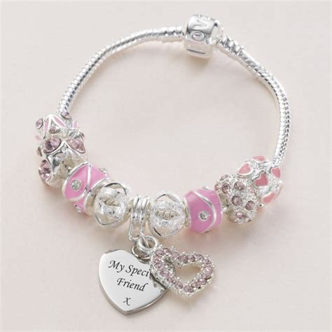 charm bead bracelet in pink with engraved charm jewels 4