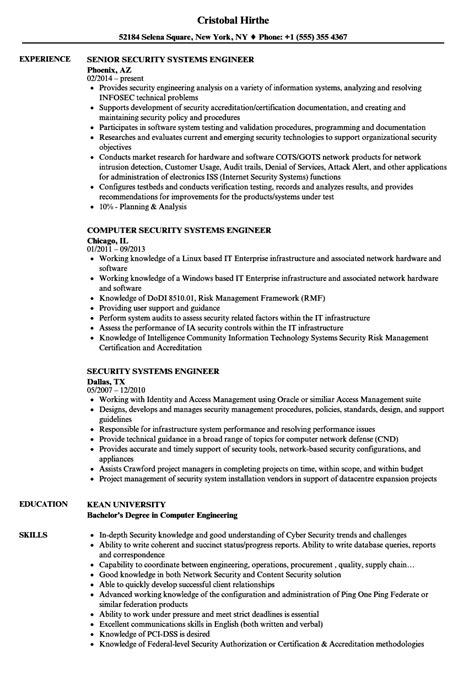 security system engineer resume sle security systems engineer resume sles velvet