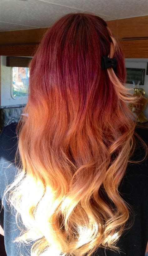red ombre hair red to bonde ombre