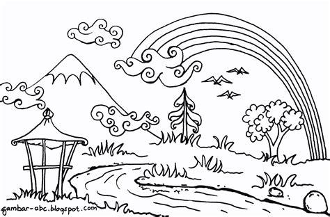 10 mewarnai gambar pemandangan gunung dan sawah