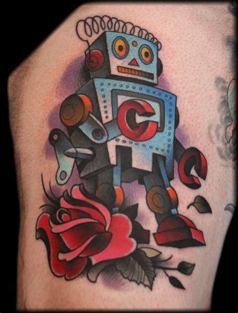 new school robot tattoo robot by jeff ensminger tattoo inspiration worlds best