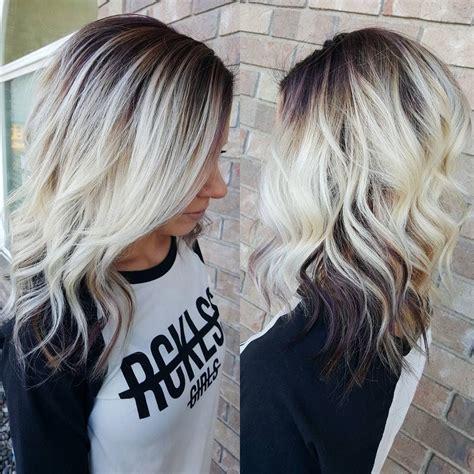 black at root of hair everyday hair fashion melt platinum blonde violet