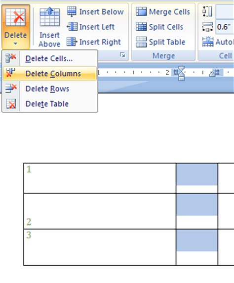 Delete Row From Table by Delete Table Rows Columns Or Cells Cell Row Column