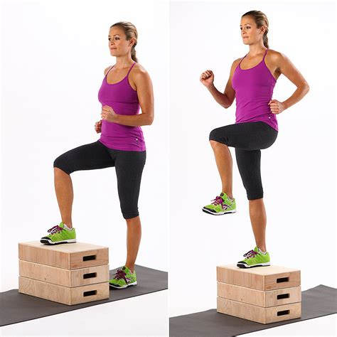 step up bench exercise how to do step ups popsugar fitness