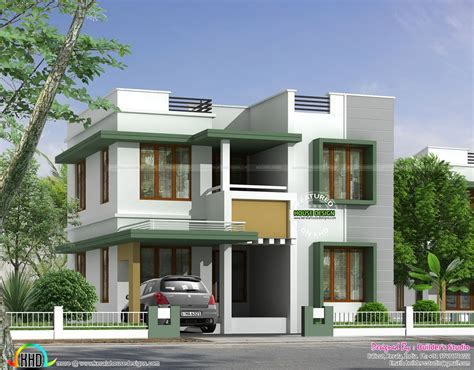 flat roof home with floor plan kerala home design and simple flat roof house in kerala home design and floor