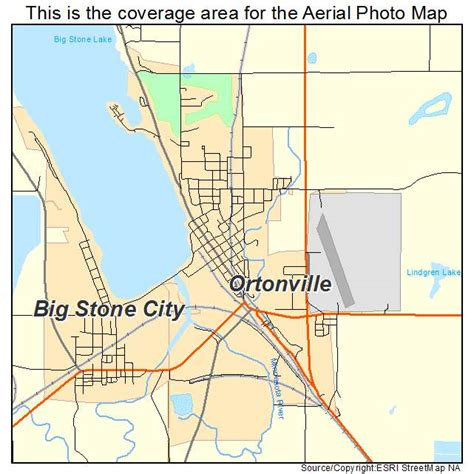 aerial photography map of ortonville mn minnesota
