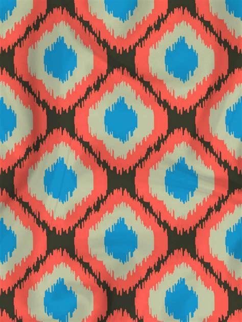 watercolor ikat pattern red blue ikat print fabric designer s hand