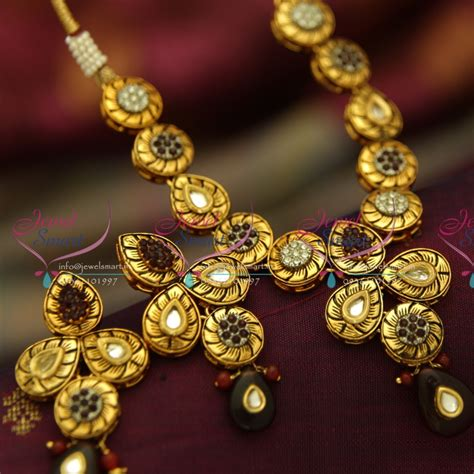 Handmade Kundan Jewellery - nl4020 antique gold plated kundan design handmade colour