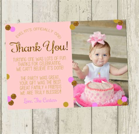 Thank You 1st Birthday Cards First Birthday Thank You Card Pink Gold Glitter Thank You