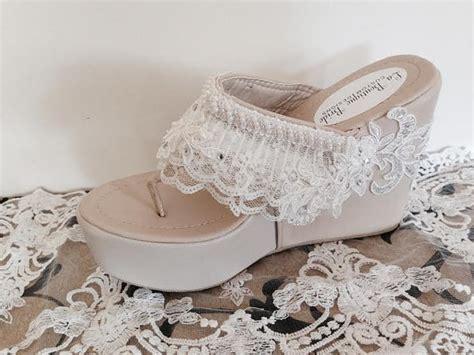 beaded wedding wedges destination wedge ivory beaded lace flip flop