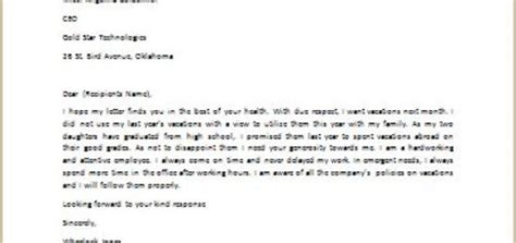 Complaint Letter Vacation Day Request Letter To Writeletter2