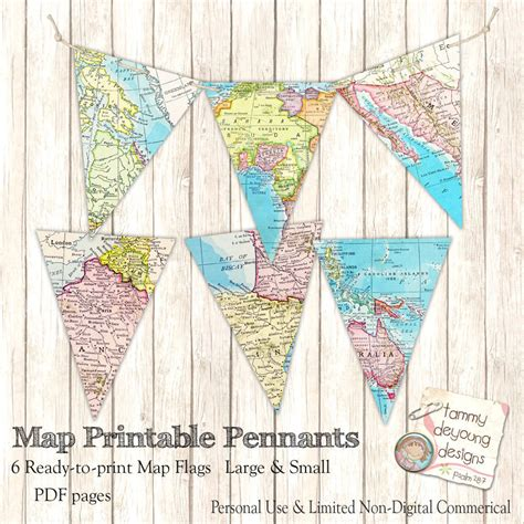 Places To Shower For Free by Map Banner Bunting Map Pennant Flags Printable Map