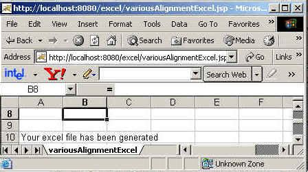 excel jsp tutorial working with alignment using jsp for excel