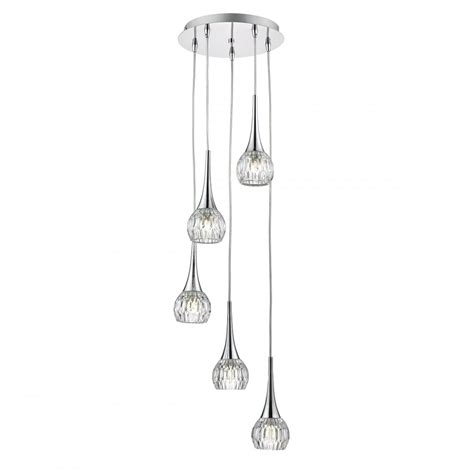Cluster Pendant Lighting Contemporary 5 Light Polished Chrome Cluster Pendant With Glass Shades