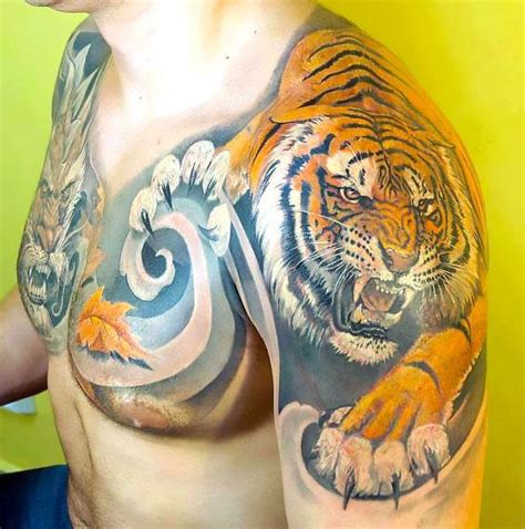 tiger tattoo on chest shoulder amazing tiger on chest and shoulder tattoo idea
