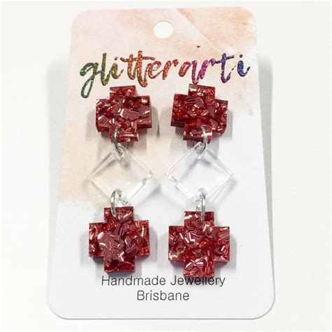 Earrings Australia Handmade - totem kite earring handmade acrylic glitterarti dangles