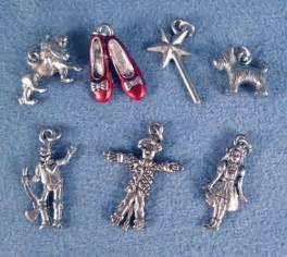Wizard of oz charms set european slide on clip on fits all bracelets
