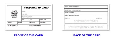 personal id card template saying information learning