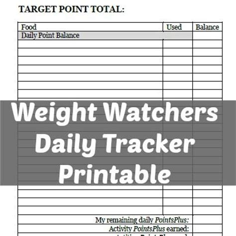 printable food journal weight watchers 5 best images of free weight watchers food tracker