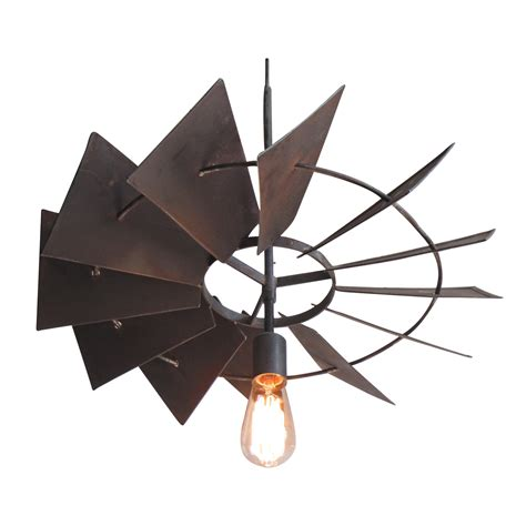 windmill ceiling fan with light vintage rustic windmill pendant light chairish