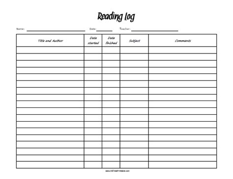 printable reading log sheets reading log free printable allfreeprintable com