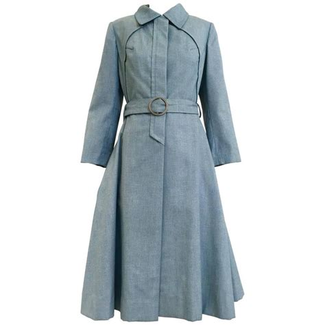 1970s donald light blue cotton trench coat for sale