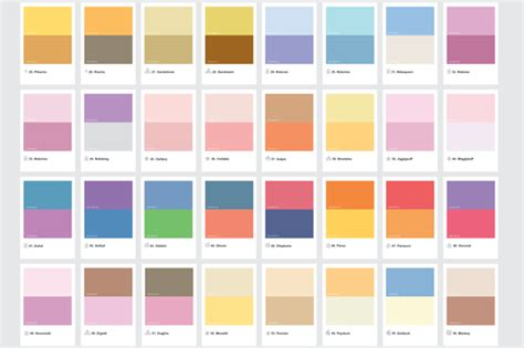 pantone color schemes pok 233 mon characters represented by their pantone shades designtaxi