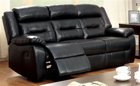 Bonded Leather Reclining Sofa Sheldon Black Bonded Leather Match Reclining Sofa From Furniture Of America Cm6320 Sf