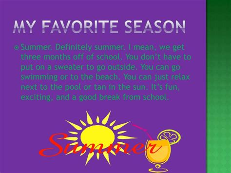 Why Summer Is My Favorite Season Of The Year Essay by All About Me