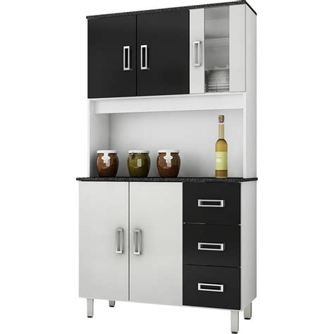 kit armario de cozinha pequeno em promocao branco  preto