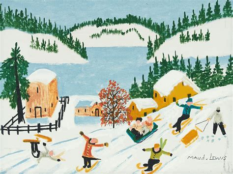 serial 3407 la nouvelle maud skiing and sledding by maud lewis at consignor ca