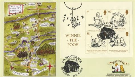 winnie the pooh miniature sheet map of pooh country