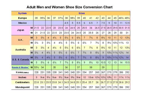 shoe size chart shoes size chart fashion shoe
