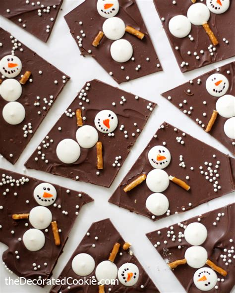 Easy Winter Craft For Kids - snowman chocolate bark fun family crafts