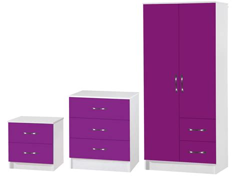 Purple High Gloss Bedroom Furniture Purple White 3 Bedroom Furniture Set Marina High Gloss Range Ebay