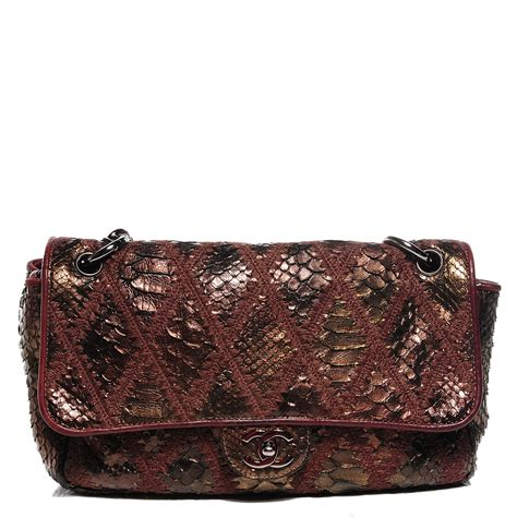 Chanel Crochet Stitched Python Flap Bag by Chanel Python Crochet Soft And Chain Jumbo Flap Bronze 94296