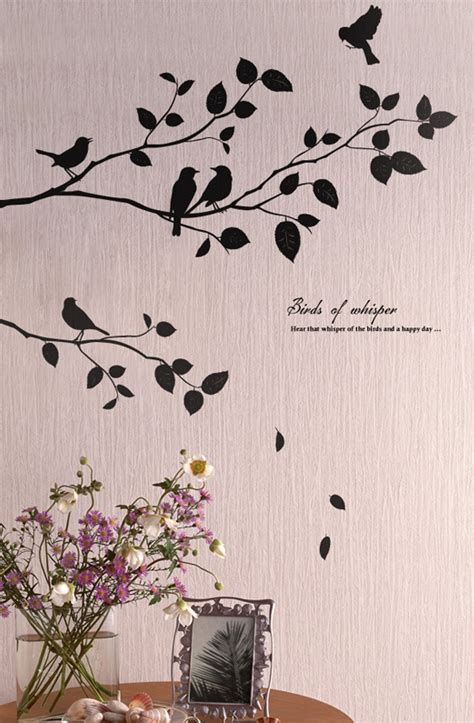 wall stickers trees and birds birds tree wall decals stickers for rooms