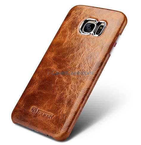 Samsung Original Leather Back Cover For Galaxy S7 Edge icarer samsung galaxy s7 edge wax back cover series genuine leather
