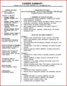 Professional Summary Exles For Resumes by Professional Summary Exles For Resume Berathen