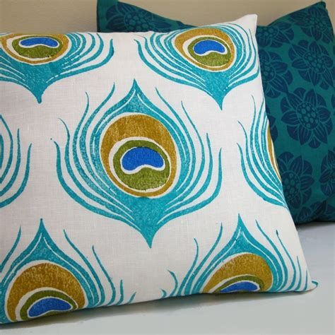 Fabric Painting Designs For Pillow Cases by Turquoise Blue Peacock Feather Block Printed White Linen