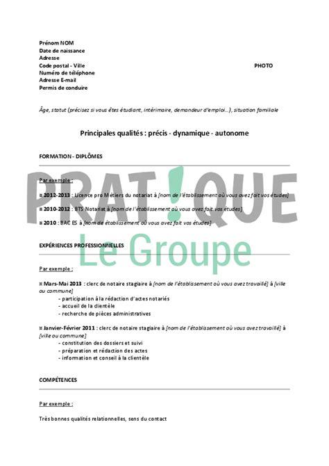 Modèle De Lettre Pour Un Notaire Mod 232 Le De Cv Pour Un Emploi De Clerc De Notaire D 233 Butant Pratique Fr