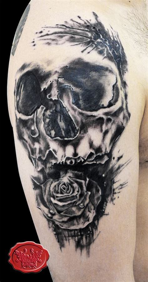 skull rose tattoo by loop1974 on deviantart