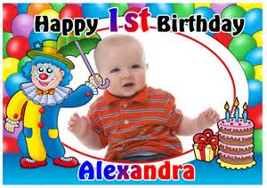 personalised 1st birthday clown photo poster banner n8 a4 a3 size ebay