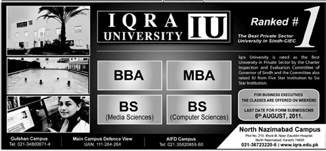 Mba College Admission by Bba Admission In Iqra Karachi