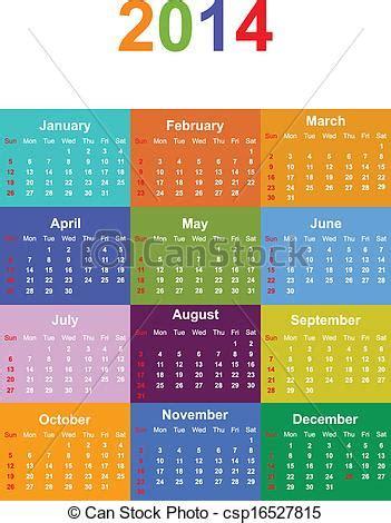 Calendario Escolar Ist 2014 Vektor Clip 2014 Jahreszeiten Kalender Vektor